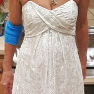 Nicole Miller White & Silver Foil Gown